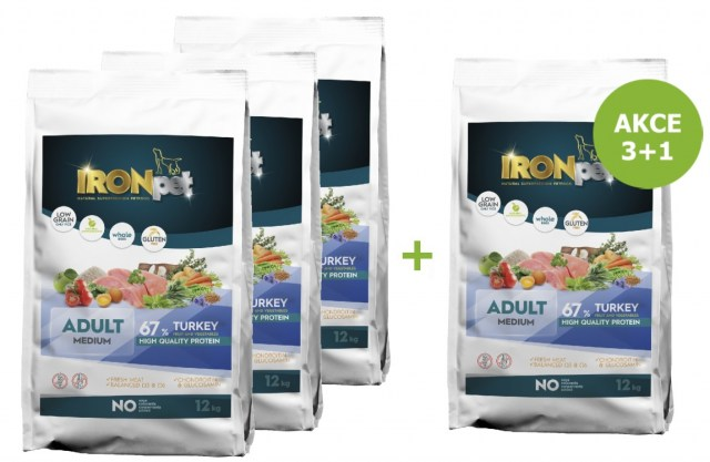 IRONpet TURKEY Medium Adult 12kg-AKCE 3+1 ZDARMA