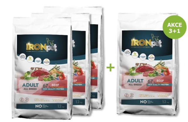 IRONpet BEEF Adult All Breed 12kg-AKCE 3+1 ZDARMA